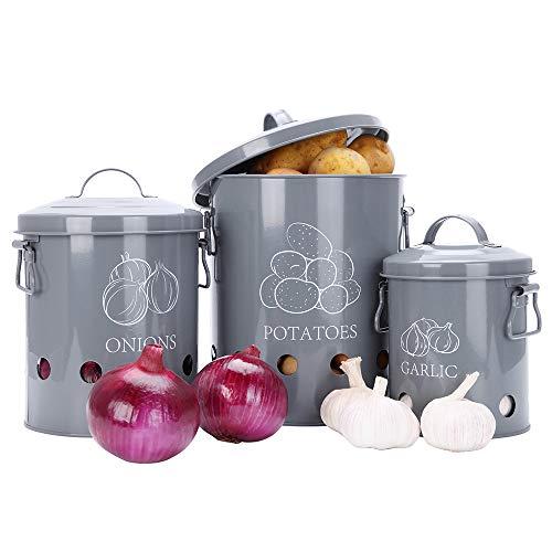 Kartoffel-Vorratsdose, Metall Gemüsekorb Kartoffeltopf, Zwiebeltopf und Knoblauchtopf, Grau Gemüse Vorratsbehälter für Küche, 3er Set
