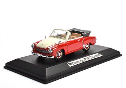 Wartburg 311-2 Cabriolet rot weiss 1:43 Atlas DieCast metall Modellauto neu und box