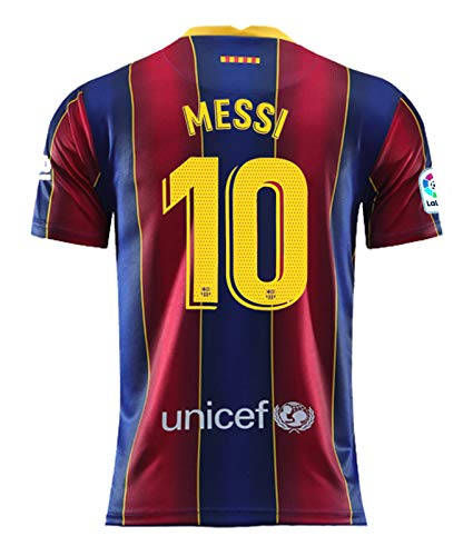 Domjurtd Messi #10 Home 2020/2021 New Season Men's Barcelona Soccer T-Shirts Jersey Size S Blue