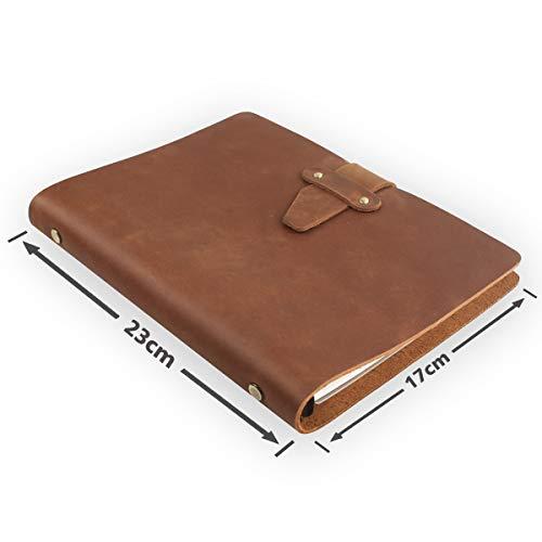 LLG - Cuaderno de anillas de piel (A5, 23 x 17 cm, rellenable, con estuche de piel) Diario para el día a día y para viajes., color Tierra amarilla. 23 x 17 cm