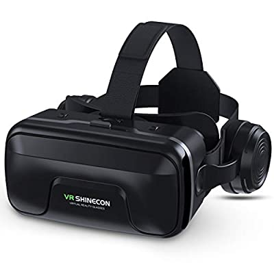 VR Headset with Headphones, GUBENCI Virtual Reality Headset 3D VR Goggles Glasses for 3D Movies VR Games Compatible with 4.7-6.7 Inches iPhone Android Phones, Eye Protected Lens & Comfortable Wear
