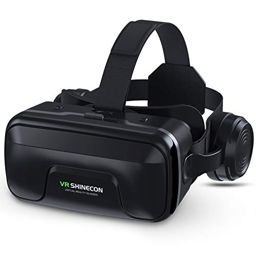 VR Headset with Headphones, GUBENCI Virtual Reality Headset 3D VR Goggles Glasses for 3D Movies VR Games Compatible with 4.7-6.5 Inches iPhone Android Phones, Eye Protected Lens & Comfortable Wear