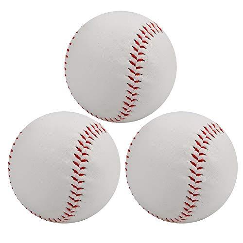 Zer one Pelotas de béisbol profesionales, PVC cosido a mano de espuma suave para adultos jóvenes entrenamiento profesional juegos de béisbol (2 unidades)