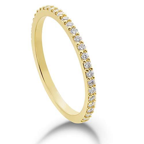 Verlobungsring - Memoire-Ring | 585 Gelbgold oder 585 Weißgold | 0.26 ct. | Ringgröße 50-55 | MIRINGOO (14 Karat (585) Gelbgold, 55 (17.5))