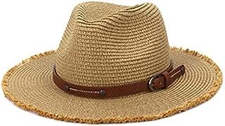 Fmdagoummzitym قبعة شمس صيفية للنساء قبعات شاطئ سترو قبعة أزياء رعاة البقر اكسسوارات صياد السمك قناع معدني أسود (اللون: كاكي)