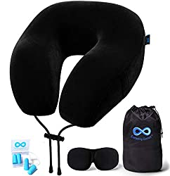 Everlasting Comfort Travel Pillow - 100% Pure Memory Foam Neck Pillow - Includes Eye Mask and Earplugs (Black)