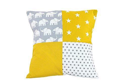 ULLENBOOM Funda Patchwork para cojín Elefantes Amarillo (Funda para cojín de 40x40 cm; 100% algodón; Ideal como cojín Decorativo para la habitación de los niños)