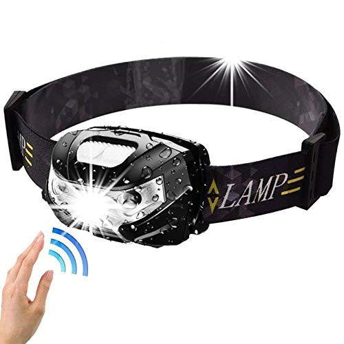 Linterna frontal de 7000Lm Powerfull, recargable, LED, sensor de movimiento, linterna de camping, linterna con USB, negro