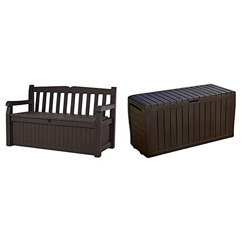 Keter Eden 70 Gallon Storage Bench Deck Box for Patio Furniture, Front Porch Decor and Outdoor Seating & Marvel Plus 71 Gallon Resin Outdoor Storage Box for Patio Furniture Cushion Storage, Brown