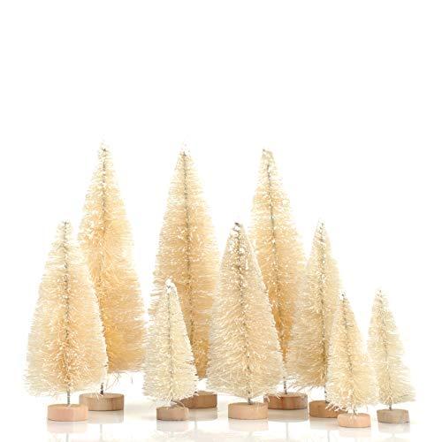 KATELUO 9 Piezas Mini Árbol de Navidad,Nini Árbol de Navidad Artificial,Mini Árbol de Navidad Pequeño con Bases de Madera,Decoración de Oficina/Hogar/Navideño/Micro Paisaje,DIY,3 Tamaños (Blanco)