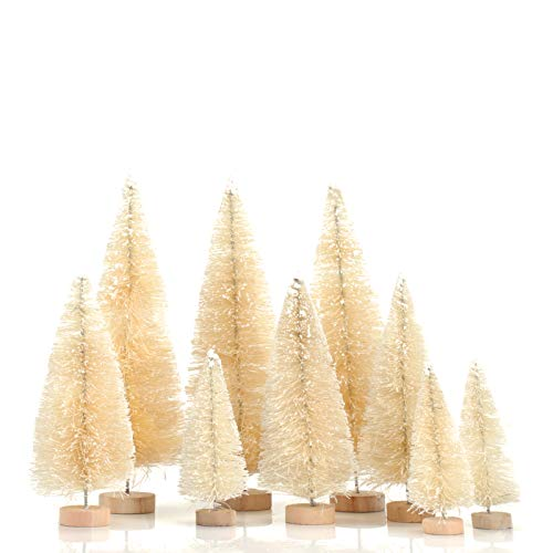 KATELUO 9 Pcs Mini Model Christmas Trees,Artificial Snow Frost Trees,Bottle Brush Christmas Trees,Mini Christmas Tree for DIY/Room Decoration/Gift/Christmas Decoration/Building Model, 3 Sizes (White)