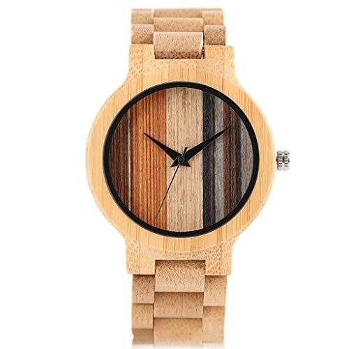 Zxy Reloj de Madera, Color Personalizado, Grano Vertical, Natural, Salud Natural y protección del Medio Ambiente Reloj de bambú y Madera, DYF (Color : Wood Color)