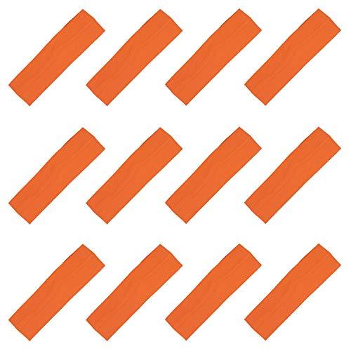 Kenz Laurenz Soft and Stretchy Elastic Cotton Headbands, (Pack of 12) - Orange