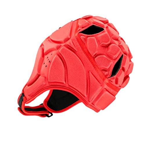 Veemoon Casco de Rugby Fútbol Casco Scrum Cap Bandera Fútbol Cabeza de Protección para Adultos Jóvenes Rojo S