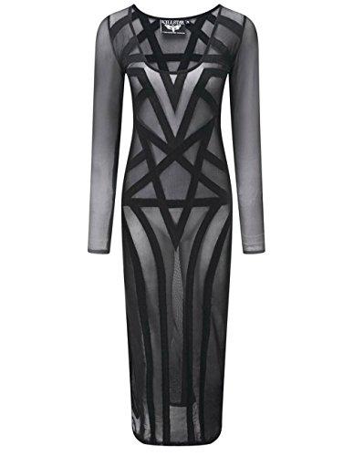 Killstar Damen Maxi Kleid Okkult - Zandra Mesh Netzkleid Langarm L