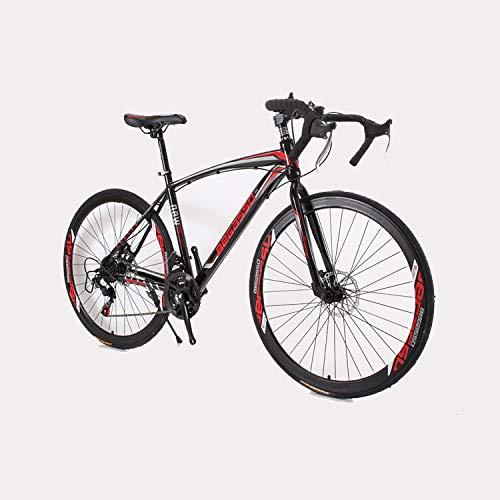 Freno de Disco Mango Curvo MTB de Carretera para Adultos Bicicleta de Velocidad 700C Offroad Racing Bicicleta de Carreras de 24velocidades Bicicleta para Hombres y Mujeres con Freno de Disco Doble