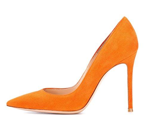 EDEFS Zapatos de Tacón para Mujer,Zapatos de tacón Alto 10 CM Naranja EU38