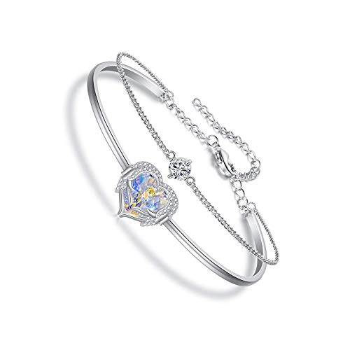 Angel Wing Heart Bracelet for Women Embellished with Crystal Clear
