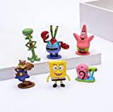Spongebob Action Toys  6-Piece Set Spongebob Squarepants Figurines  Collectible Cake Topper Mini-Figurines  Ideal for Kids, Birthday, Party Favors