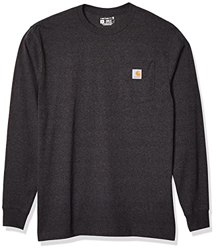 Carhartt Men's K126 Workwear Jersey Pocket Long-Sleeve Shirt (Regular and Big & Tall Sizes), Carbon Heather, Large