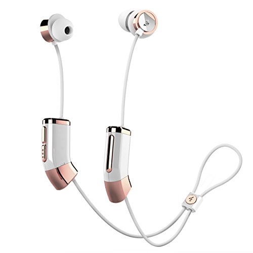 Zipbuds 26 Bluetooth Wireless Custom Fit In-Ear Headphones: HD Stereo Sound Waterproof Sweatproof 15-Hour Supercharged Battery (White & Rose Gold)