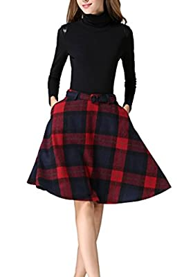 Wonder Women's Plaid Wool Knee Length Skirt A-Line Pleated Vintage Flared Swing Skirt With Pockets