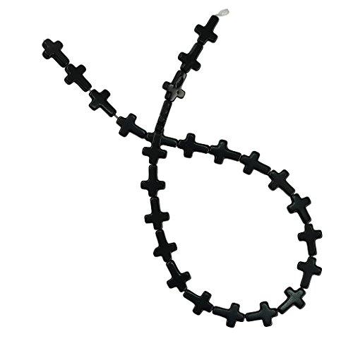 freneci Piedra Preciosa Lisa Cruzada Turquesa de 1 Hebra - Negro, 12x16x3.7cm
