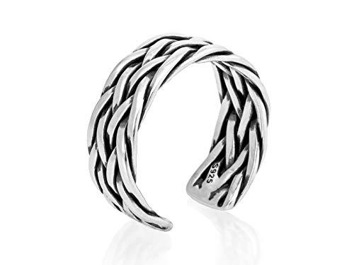 Nature Rebel - anello da uomo intrecciato, in argento 925, aperto, regolabile
