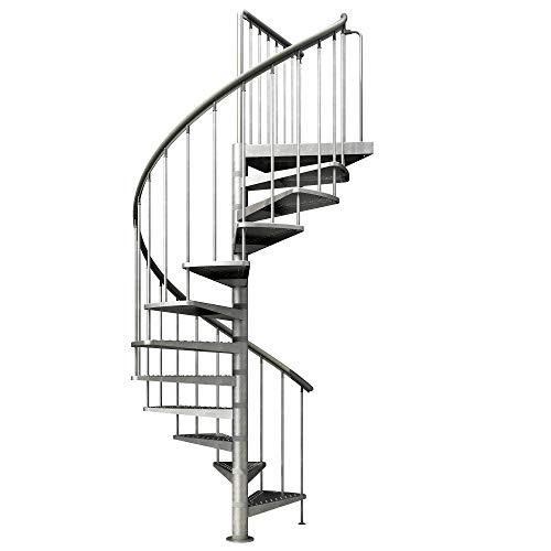 Spindeltreppe verzinkt | Außenspindeltreppe | Wendeltreppe | Geschosshöhe: 266,5-305,5 cm| 12 Stufen | Durchmesser 125 cm | Stufen und Podest: Metall gelocht | Gartentreppe | Außentreppe