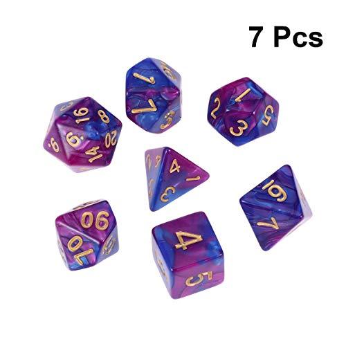 TOYANDONA 7 Stücke Polyhedral Würfel Doppel Farbe Acryl Anzahl Spiel Würfel Set für Dungeons Dragons RPG MTG Tischspiel Spielen (Lila Blau)
