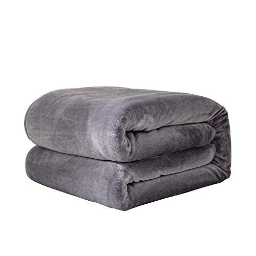 【Amazon.co.jp 限定】チチロバ(TITIROBA) 毛布 ブランケット blanket ダブル 暖かい 軽量 フランネル おしゃれ ふんわり オールシーズン 洗える 180x200cm グレー