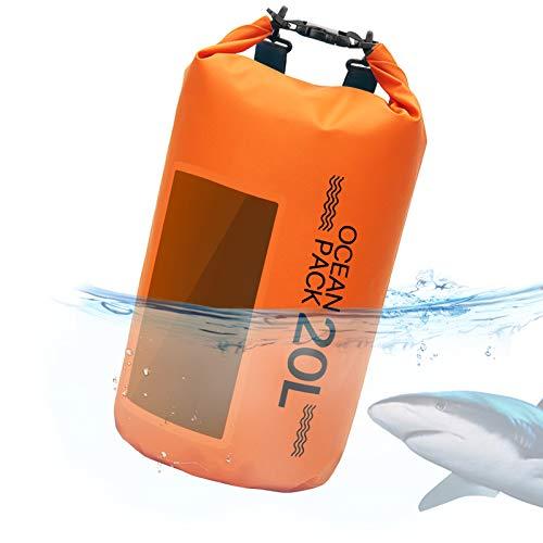 Idefair La Bolsa Seca Impermeable Mantiene el Equipo seco, Mochila Seca Flotante Bolsa de Playa Saco seco para la Playa, navegación, Pesca, Kayak Canotaje Cámping10L 20L