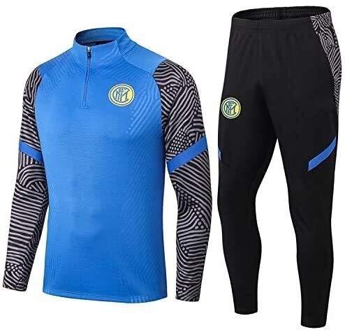 PARTAS Offizielle Fußball-Geschenk Langarm Inter Mailand Tracksuits Football Wear Verein Uniform Trainingsanzug Wettbewerb Anzug Inter Mailand Herren-Top + Pants (Size : S)