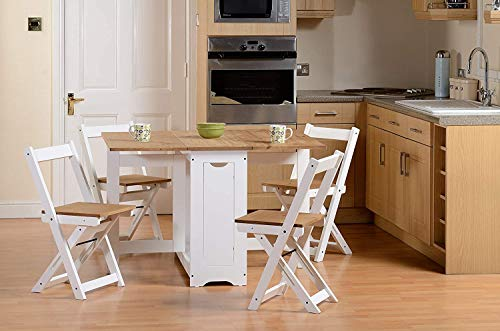 Drop Leaf Dining Table 4 Chairs Extendable Extending Wooden Furniture Small Space Saving Breakfast Pine Top Folding Away Fold Out Kitchen Stools Farmhouse Butterfly Vintage Kitchen Dining Room Set