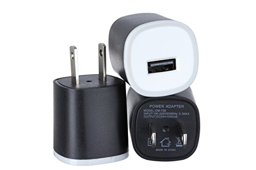 Omni INC 3PC Universal USB Port [Matte Black] Rapid Speed Power Adapter Wall Charger AC/DC Power Adapter Home Wall Charger Plug for iPhone 7/7 6/6 Plus Samsung Nokia HTC Google Smart Phone