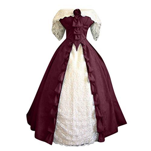 SALUCIA Damen Mittelalter Gothic Kostüm Elegant Retro Kleider Gewand Viktorianisches Renaissance Prinzessin Barock Rokoko Kleidung SA237