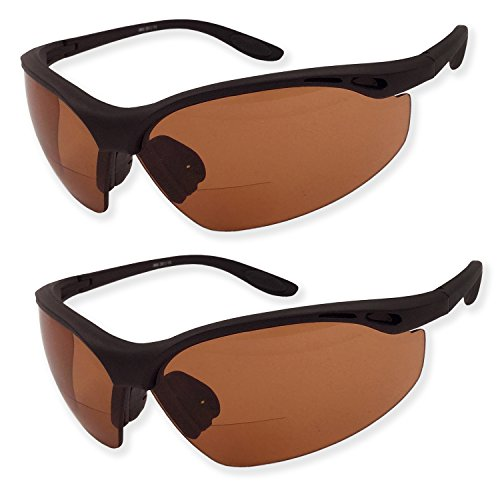 2 Pairs Bifocal Safety Driving Sunglasses with Reading Corner - Rubber Grip Arms (Diopter +2.00)