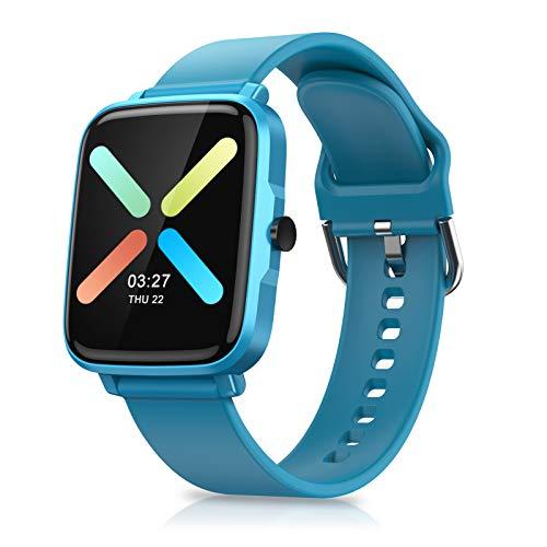 Timoom-tech Reloj Inteligente, Smartwatch Reloj Deportivo Impermeable con Cronómetro, 11 Modos de Deportes, Podómetro, Pulsómetro, Calorías, Monitor de Sueño, F2 Smartband Hombre Mujer niños -Azul