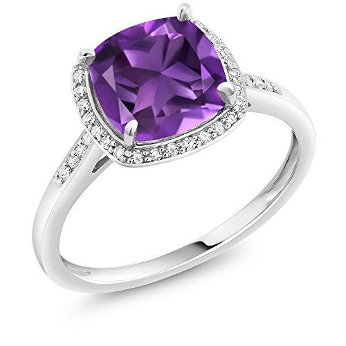 Gem Stone King 10K White Gold Purple Amethyst and Accent Diamonds Women's Engagement Ring 2.05 Ct Cushion Cut (Size 8)