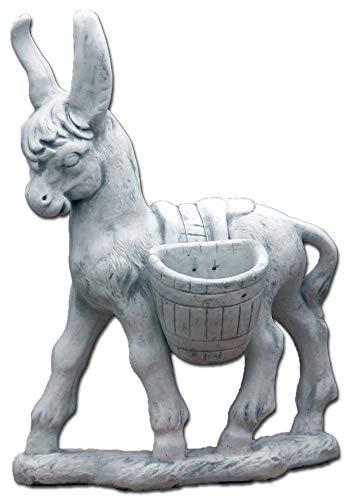 gartendekoparadies.de Massive Steinfigur riesiger Esel mit Pflanzkörbe aus Steinguss frostfest