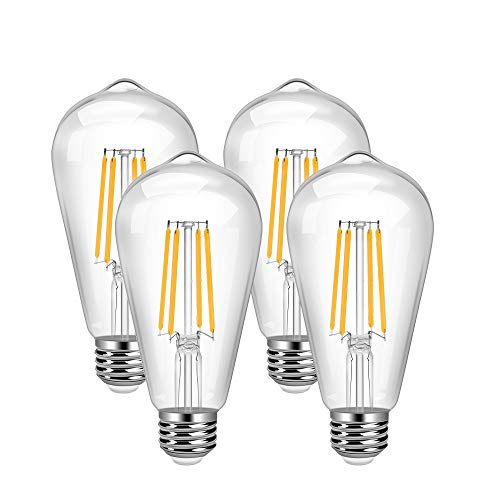 Vintage LED Edison Bulb 4 Pack 8W ST64 LED Edison Bulb Warm White 2700K Antique LED Filament Bulbs E26 Base 900LM Smooth Dimming Vintage Style Clear Glass ST64 LED Bulb for Decorate Bedroom Office