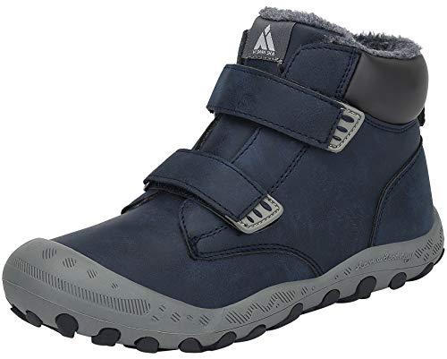 Mishansha Kinder Winterstiefel Warm Gefüttert Schneestiefel Mädchen Jungen Trekkingschuhe Wasserdicht Leicht Outdoor Schuhe rutschfest Sneaker Blau, Gr.36