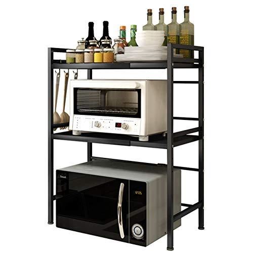 Vinteky Soporte Microondas, Estante Microondas Ajustable de 3 Niveles, Estante para Horno de sobre Encimera de Cocina, Armario de Cocina, Negro
