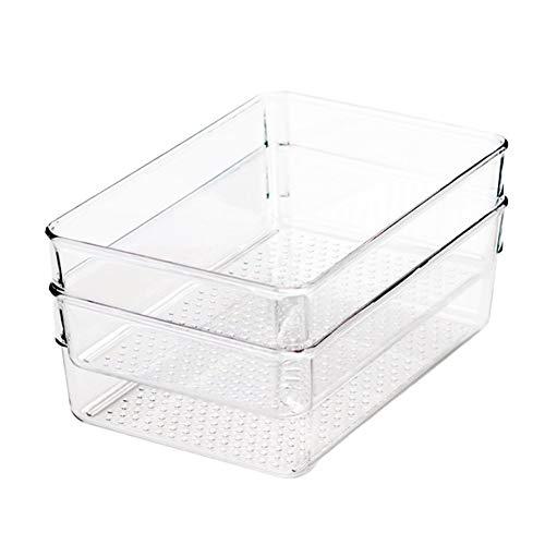 Caja organizadora transparente de plástico para nevera, 2 unidades