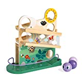 Janod Wooden Caterpillar Ball Track Toy – Educational, Creative, Imaginative, Inventive, and Developmental Play – Montessori, STEM Approach to Learning – Outdoors Theme - Ages 12 Months-3 Years Old