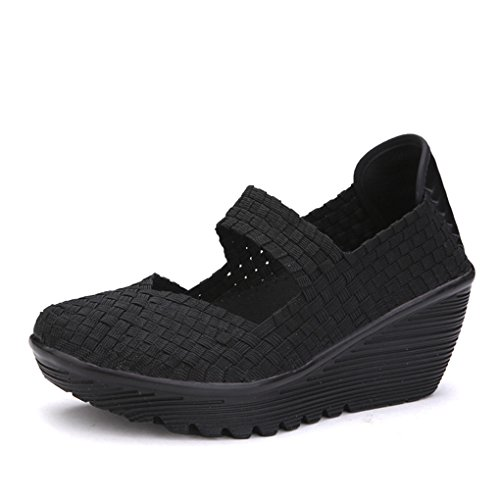 Ruiatoo Women's Platform Wedge Sandals Comfortable Woven Pumps Mary Jane Shoes Black 35