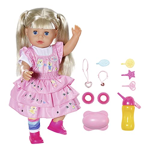 Zapf Creation 828533 BABY born Kindergarten Little Sister 36 cm große Puppe mit 7 lebensechten Funktionen , langen blonden Haaren und 11 Accessoires