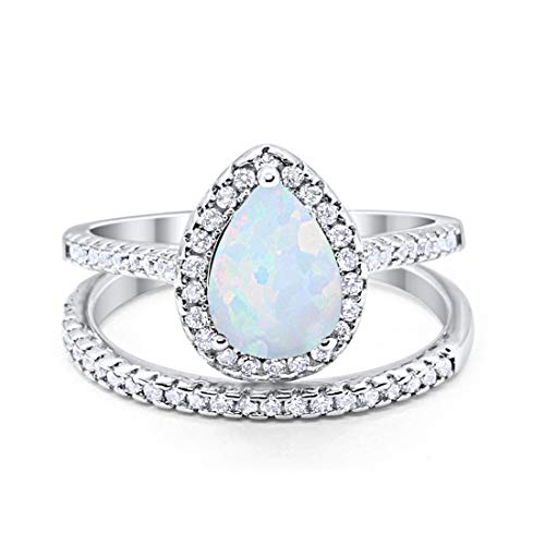 Blue Apple Co. Teardrop Pear Bridal Set Wedding Engagement Ring Band 925 Sterling Silver Round Lab White Opal Cubic Zirconia Size-9