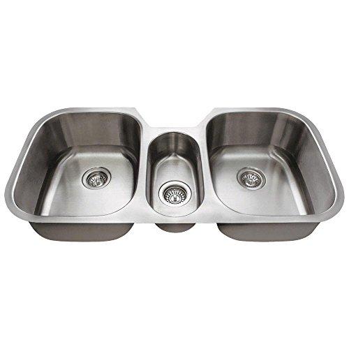 4521 Triple Bowl Stainless Steel Kitchen Sink, 16-Gauge, Sink Only