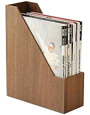 本立て ブックスタンド 木製 卓上収納 雑誌/新聞/書類入 オフィス 【1年間保証・正規品】2色選択可能 ベージュ・ダークブラウン